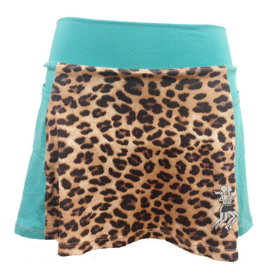 cheetah pool blue running skirt