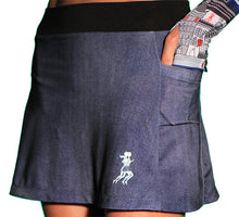 denim running skirt side pockets