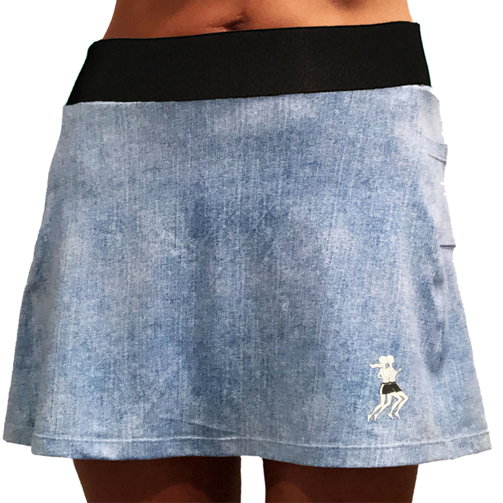 Faded Denim Running Skirt - PREORDER SHIPS FALL 2020