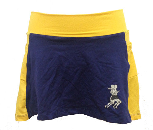 navy gold running skirt