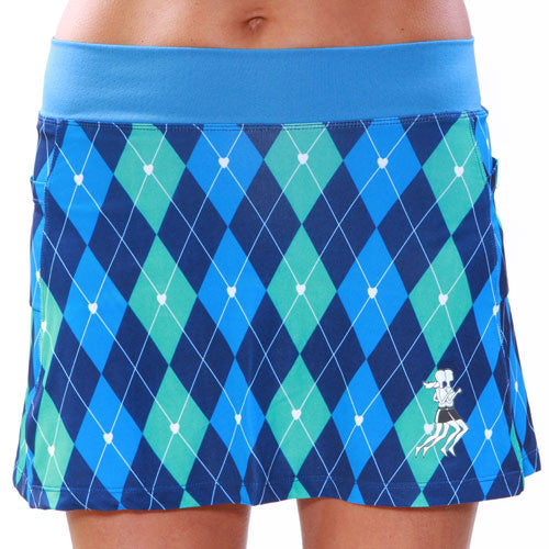 Preppy Blue Argyle Running Skirt