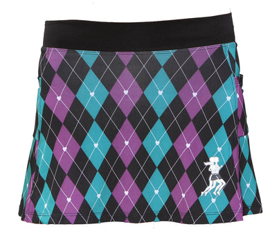 preppy purple argyle running skirt