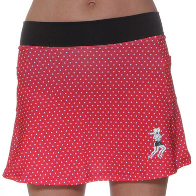 red polka dot running skirt