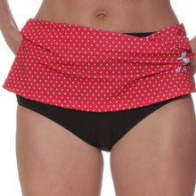 red polka dot skirt black brief