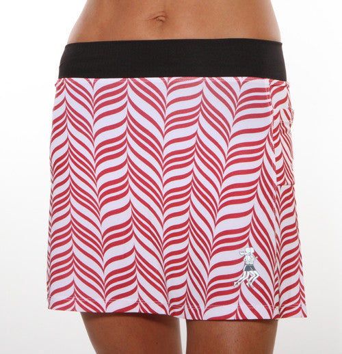 red candy stripe running skirt