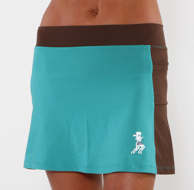 turquoise chocolate running skirt