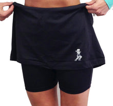 black knee length fitness skirt compression shorts