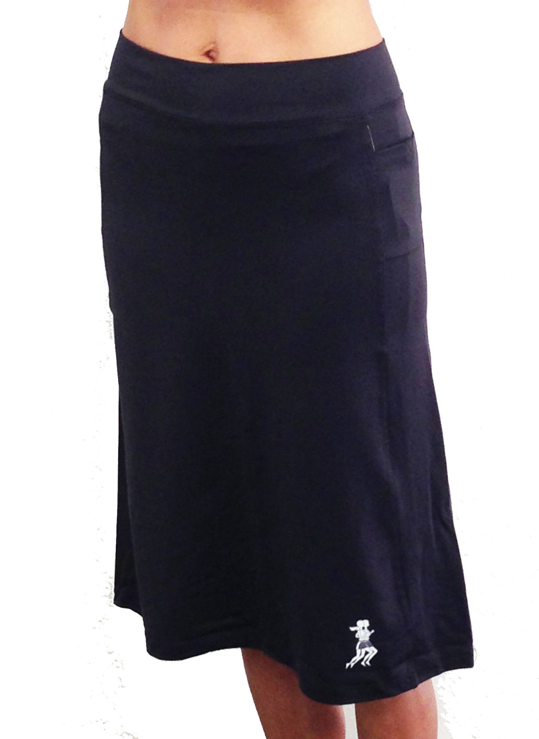 black knee length running skirt
