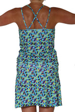 blue pixel sporty dress back