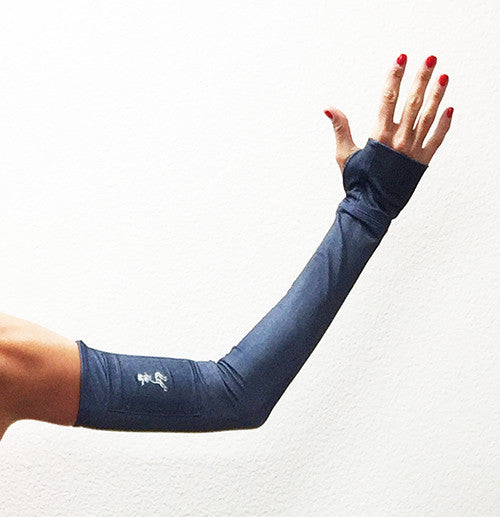 new denim print arm warmers