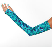 seacamp green camp print arm warmers
