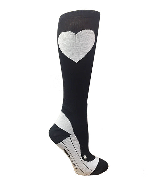 Black and White Run Love Compression Socks