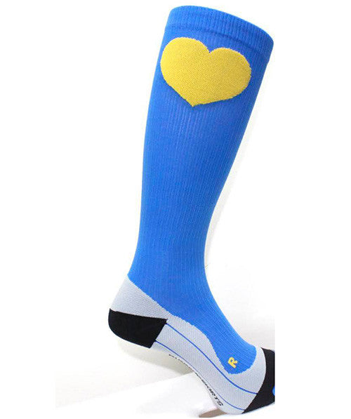 runlove boston blue and gold compression socks