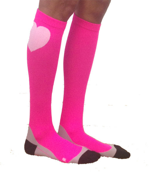 Neon Pink Compression Socks for Runners