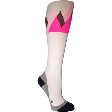 white and pink summit compression socks