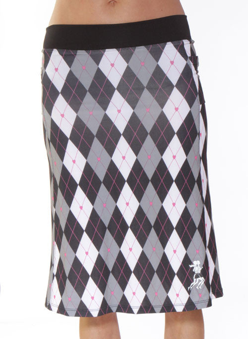 black argyle kosher running skirt