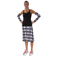 knee lenght argyle skirt with black strappy tank
