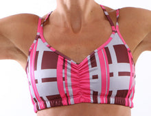 urban pink strappy sports bra