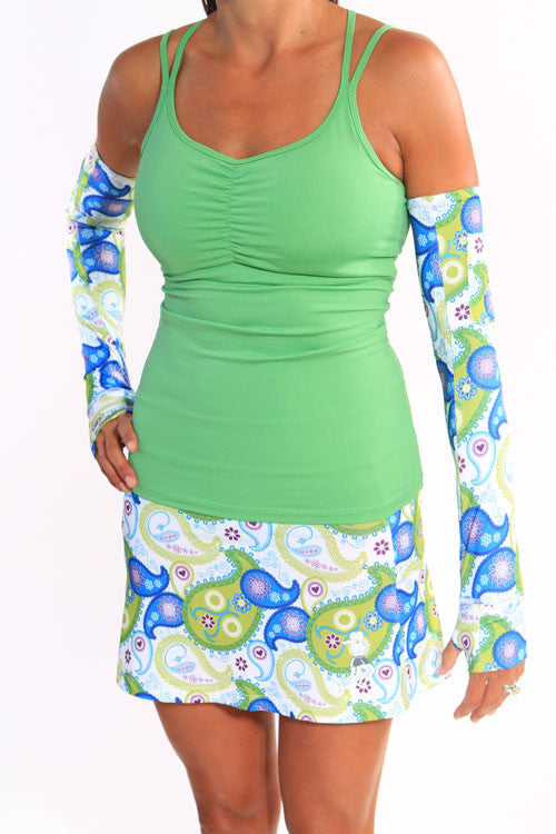 clover strappy tank white paisley skirt and arm sleeves