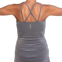 gray strappy tank sports bra back pocket