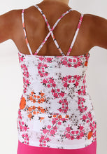 cerise blossom strappy tank back