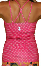 strappy tank back haute pink dot