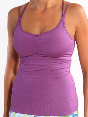purple strappy run bra tank