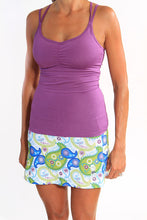 purple strappy tank white paisley skirt