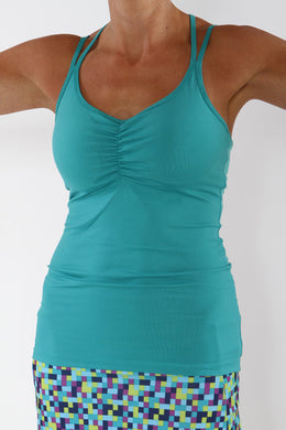 turquoise strappy tank