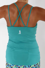 turquoise strappy tank back