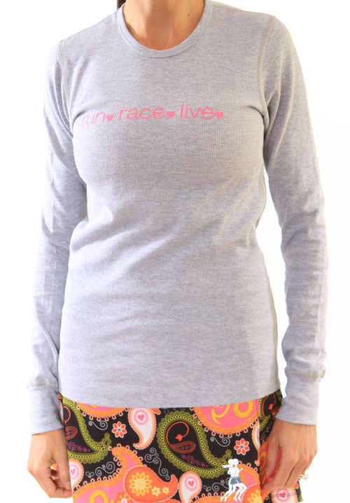 heather grey pink thermal