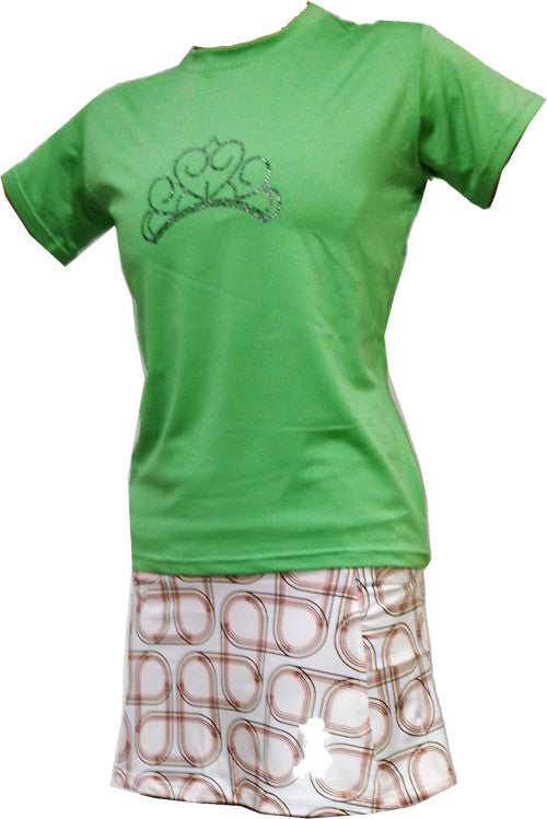 sparkle tiara mesh performance tee green