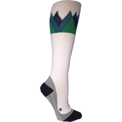 white & blue summit compression socks