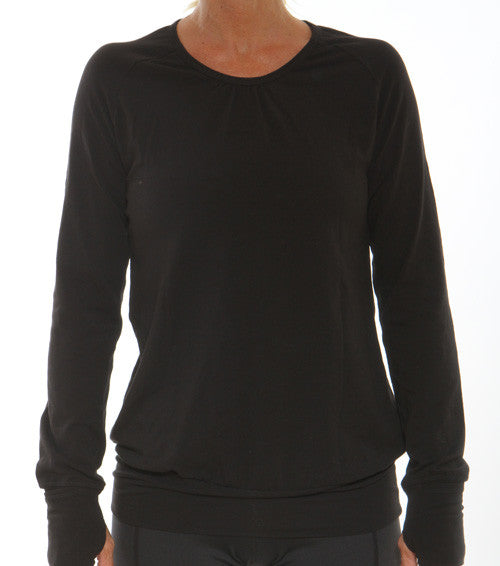 gathered longsleeve performance top black