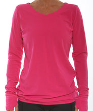cerise v-neck long sleeve