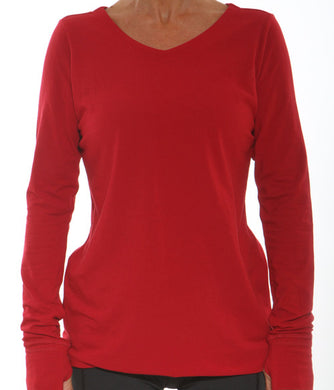 vneck long sleeve red