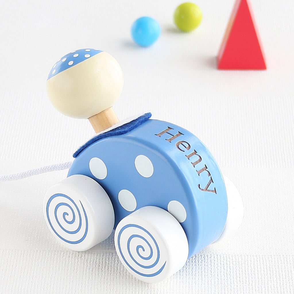 Personalised Pirate Wooden Pull Along Toy