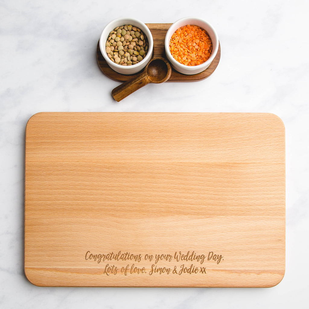 Mr & Mrs Personalised Engraved Wooden Chopping Board