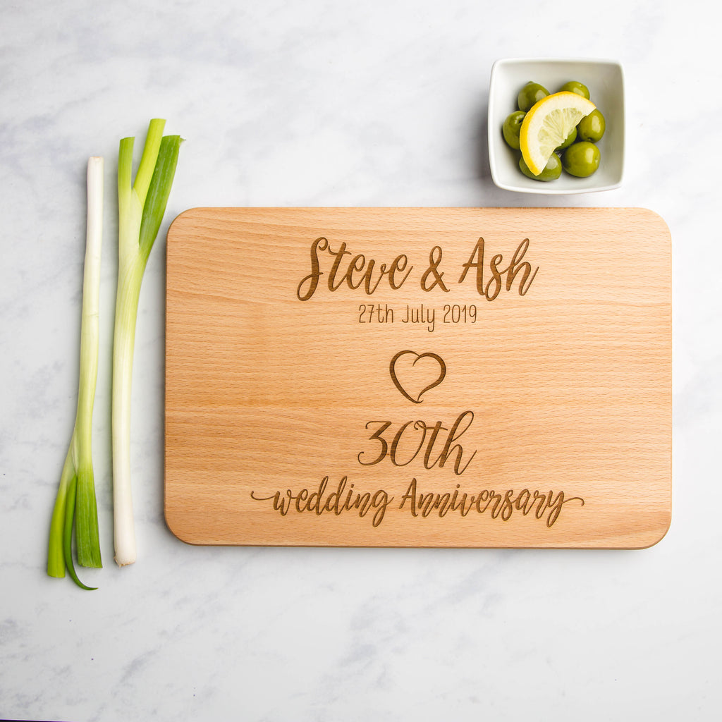 Anniversary Personalised Engraved Wooden Chopping Board