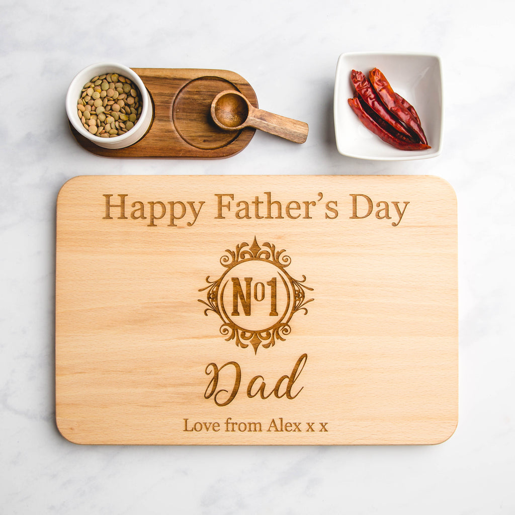'No 1 Dad' Monogram Personalised Engraved Wooden Chopping Board
