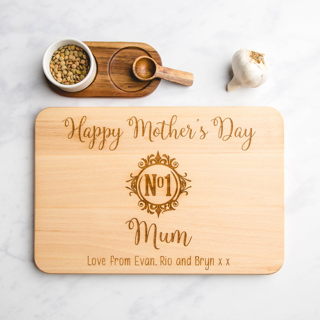 Mother's Day Gifts 'No 1 Mum' Monogram Personalised Engraved Wooden Chopping Board