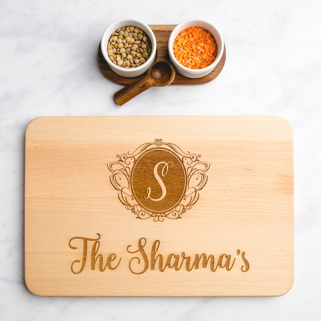 Family Surname & Monogram Letter Personalised Engraved Wooden Chopping Board