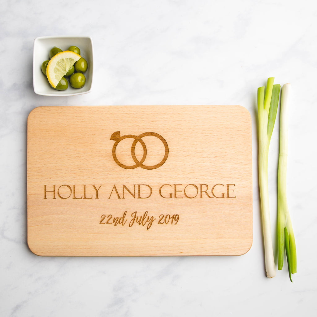 Wedding Rings Personalised Wooden Engraved Chopping Board