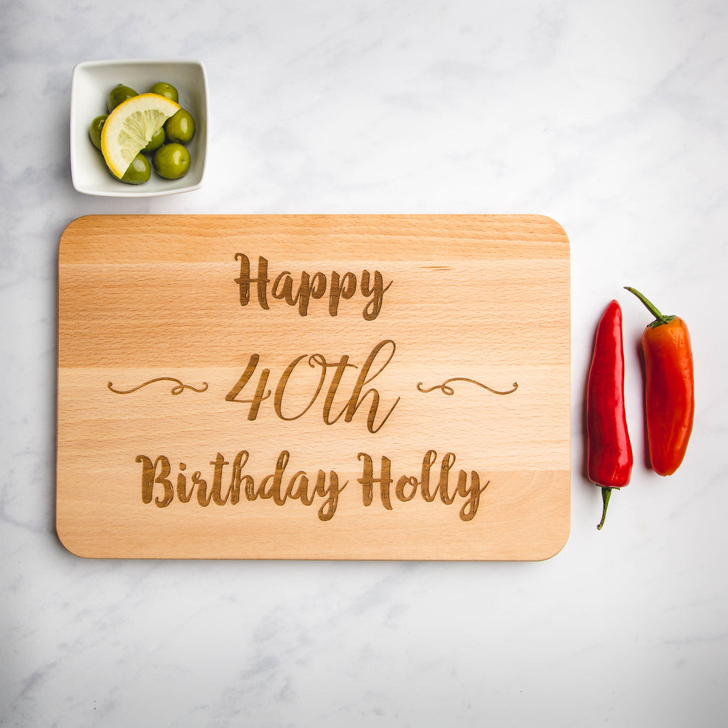 Birthday Personalised Engraved Wooden Chopping Board