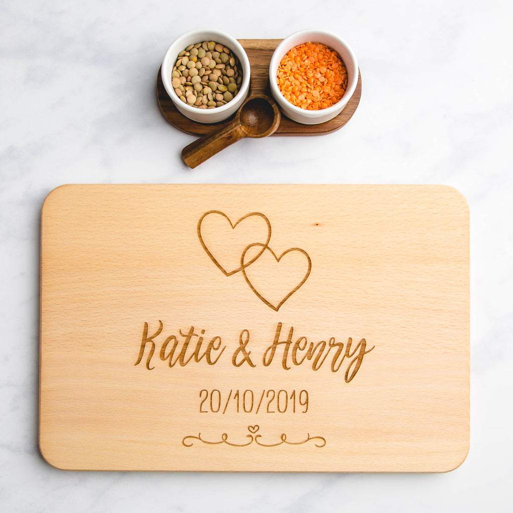 Wedding Hearts Personalised Wooden Engraved Chopping Board