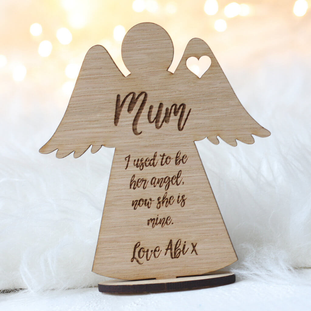 Personalised Mum Memory Angel Wooden Keepsake With Stand