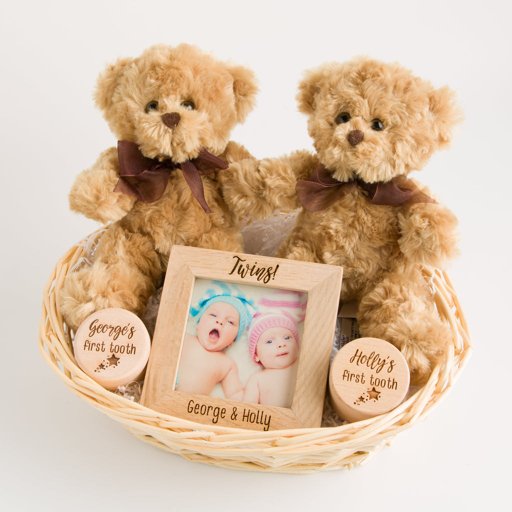 Personalised Double Deluxe Twin New Baby Gift Basket | Hamper