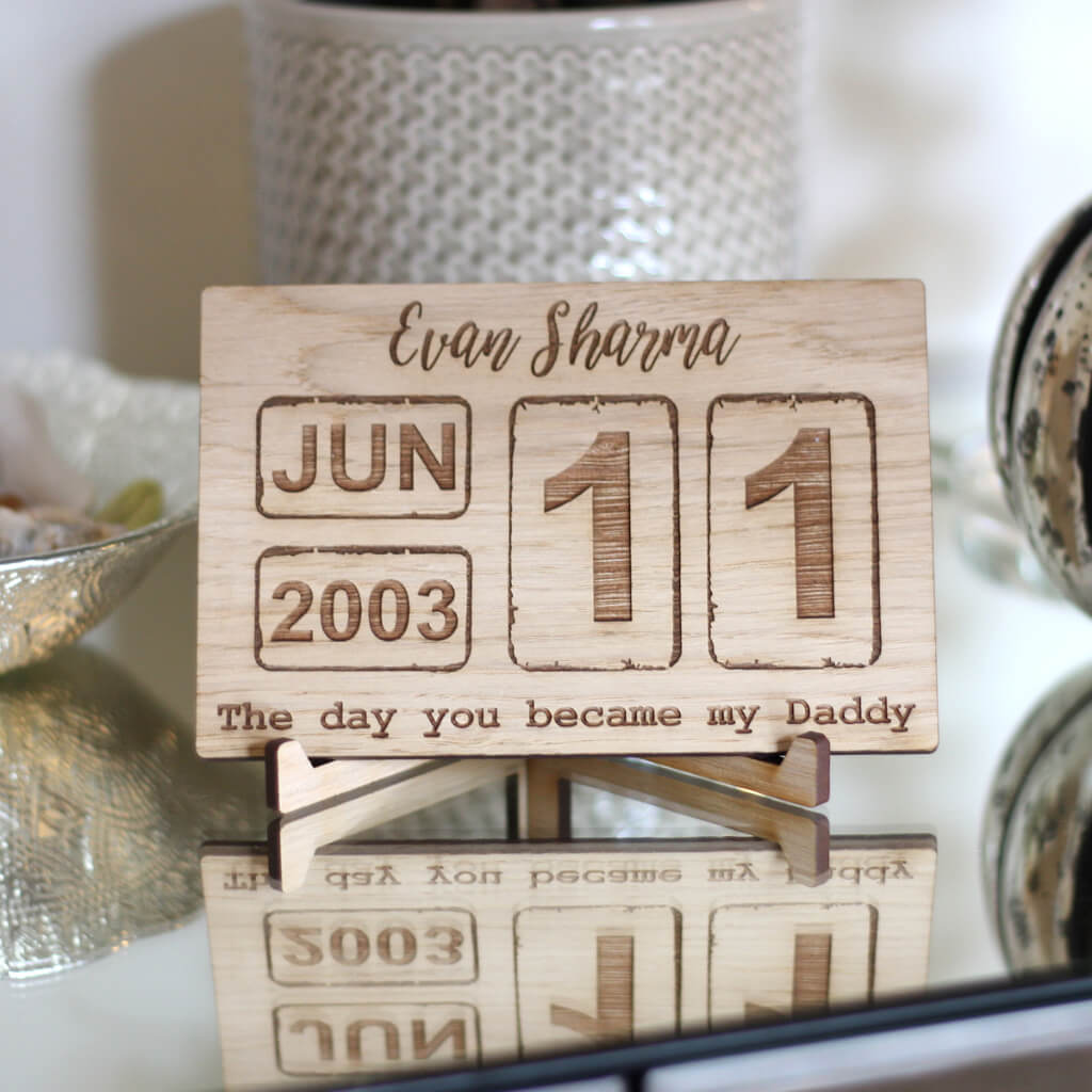 Personalised Oak Calendar Date Stand / Plaque - Vintage