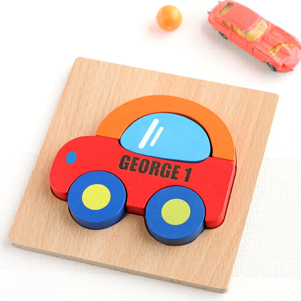 Orange Car | Personalised Wooden Car Jigsaw Puzzle Toy