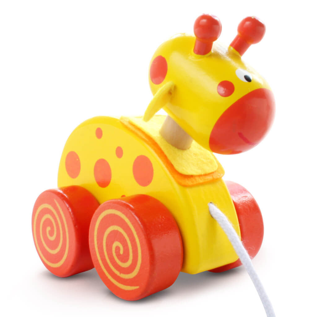 Right | Personalised Yellow Giraffe Wooden Pull Along Toy